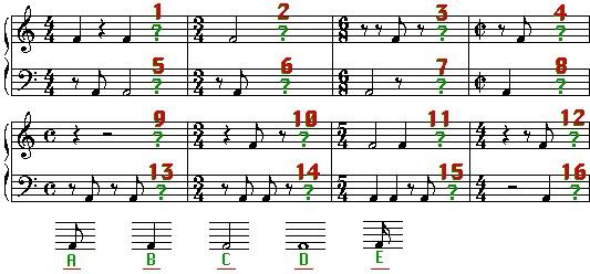 Übung um unvollständige Takte im Notensystem zu ergänzen