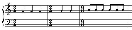 Verschiedene Taktlängen im Notensystem